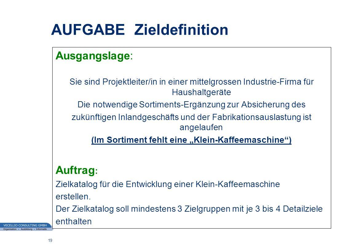 wwgs1.ch 19 AUFGABE Zieldefinition Ausgangslage: Sie sind Projektleiter/in in einer mittelgrossen Industrie-Firma für Haushaltgeräte Die notwendige So