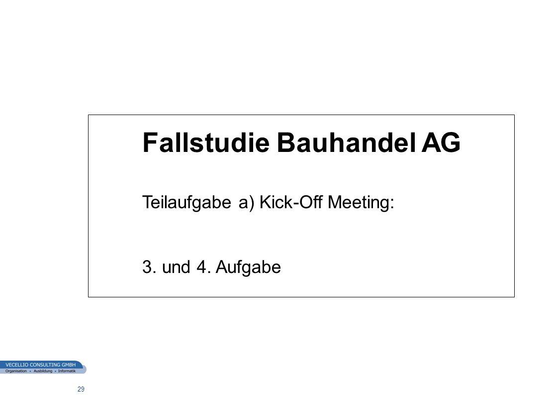 wwgs1.ch 29 Fallstudie Bauhandel AG Teilaufgabe a) Kick-Off Meeting: 3. und 4. Aufgabe