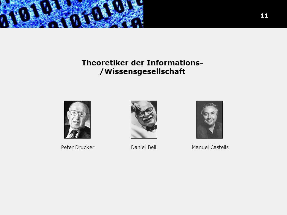 Theoretiker der Informations- /Wissensgesellschaft 11 Peter DruckerDaniel BellManuel Castells