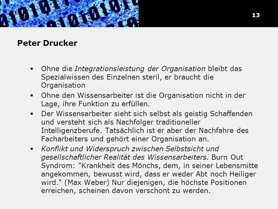 Peter Drucker Ohne die Integrationsleistung der Organisation bleibt das Spezialwissen des Einzelnen steril, er braucht die Organisation Ohne den Wisse