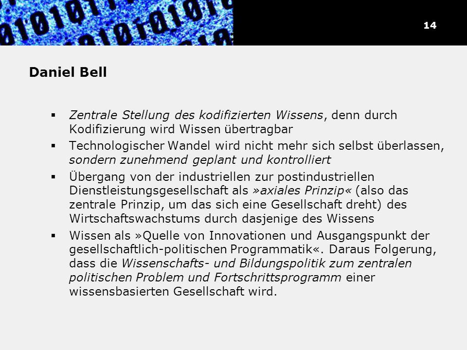 Daniel Bell Zentrale Stellung des kodifizierten Wissens, denn durch Kodifizierung wird Wissen übertragbar Technologischer Wandel wird nicht mehr sich