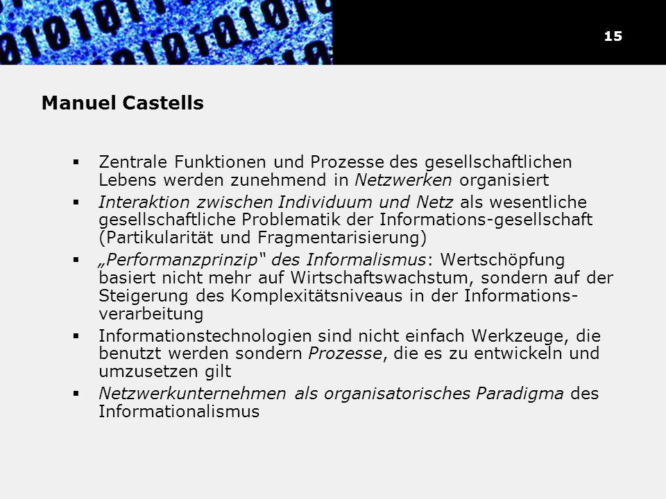 Manuel Castells Zentrale Funktionen und Prozesse des gesellschaftlichen Lebens werden zunehmend in Netzwerken organisiert Interaktion zwischen Individ