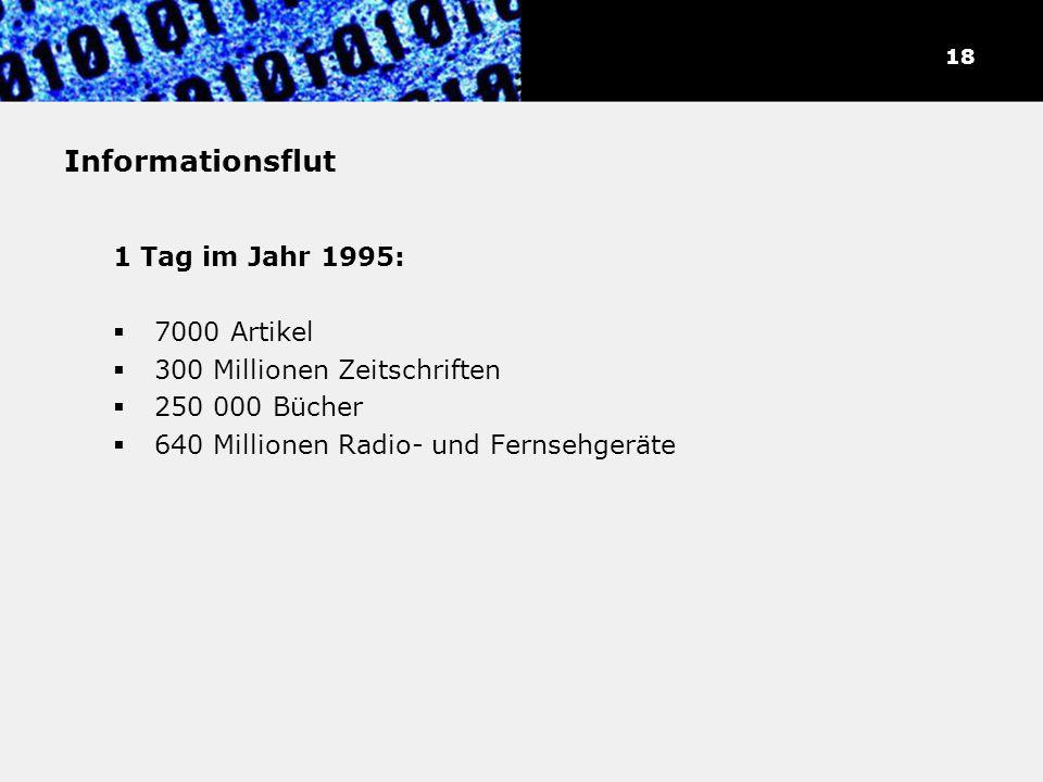 Informationsflut 1 Tag im Jahr 1995: 7000 Artikel 300 Millionen Zeitschriften 250 000 Bücher 640 Millionen Radio- und Fernsehgeräte 18