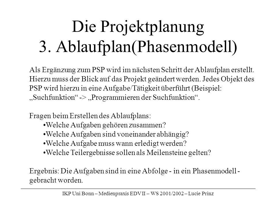 IKP Uni Bonn – Medienpraxis EDV II – WS 2001/2002 – Lucie Prinz Die Projektplanung 3. Ablaufplan(Phasenmodell) Als Ergänzung zum PSP wird im nächsten