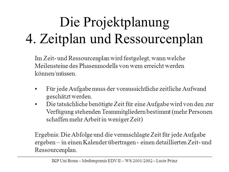 IKP Uni Bonn – Medienpraxis EDV II – WS 2001/2002 – Lucie Prinz Die Projektplanung 4. Zeitplan und Ressourcenplan Im Zeit- und Ressourcenplan wird fes