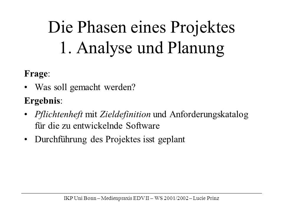 IKP Uni Bonn – Medienpraxis EDV II – WS 2001/2002 – Lucie Prinz Die Phasen eines Projektes 1. Analyse und Planung Frage: Was soll gemacht werden? Erge