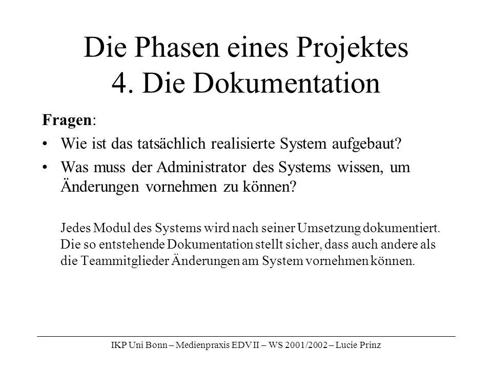 IKP Uni Bonn – Medienpraxis EDV II – WS 2001/2002 – Lucie Prinz Die Phasen eines Projektes 4. Die Dokumentation Fragen: Wie ist das tatsächlich realis