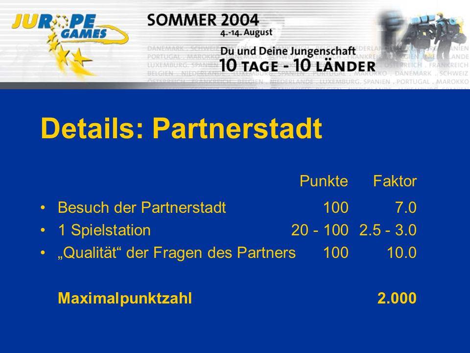 Details: Partnerstadt Besuch der Partnerstadt1007.0 1 Spielstation20 - 1002.5 - 3.0 Qualität der Fragen des Partners10010.0 Maximalpunktzahl2.000 PunkteFaktor