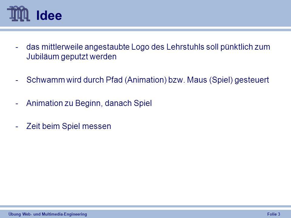 Übung Web- und Multimedia-Engineering Folie 3 Idee -das mittlerweile angestaubte Logo des Lehrstuhls soll pünktlich zum Jubiläum geputzt werden -Schwamm wird durch Pfad (Animation) bzw.