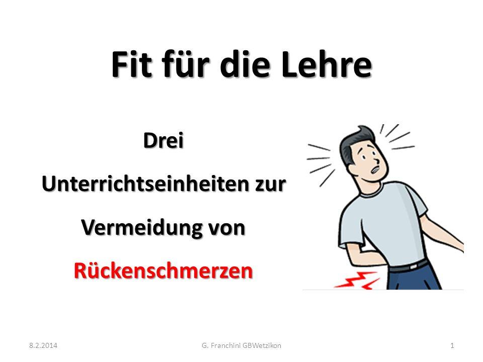 Fit für die Lehre Drei Unterrichtseinheiten zur Vermeidung von Rückenschmerzen 8.2.2014G. Franchini GBWetzikon1