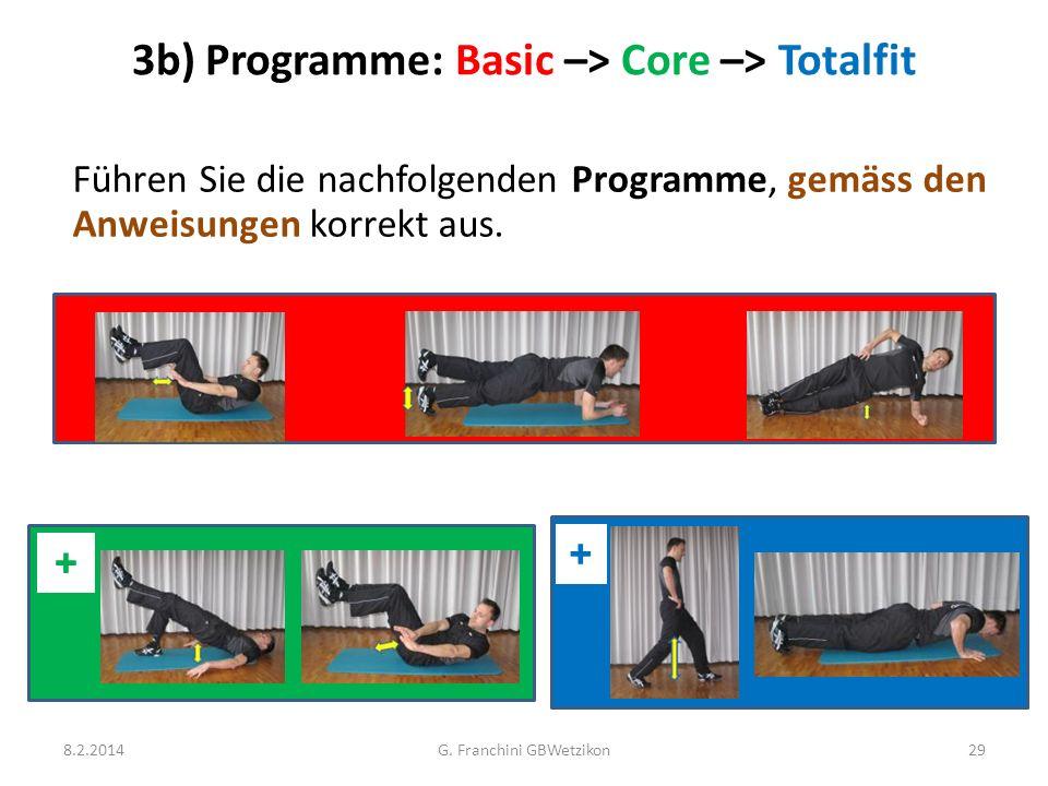 3b) Programme: Basic –> Core –> Totalfit Führen Sie die nachfolgenden Programme, gemäss den Anweisungen korrekt aus. 8.2.2014G. Franchini GBWetzikon29