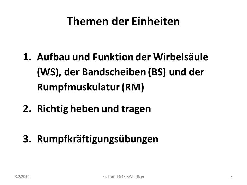 Themen der Einheiten 1.Aufbau und Funktion der Wirbelsäule (WS), der Bandscheiben (BS) und der Rumpfmuskulatur (RM) 2.Richtig heben und tragen 3.Rumpf