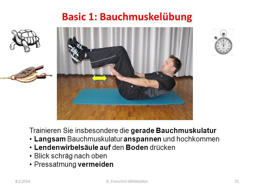 Basic 1: Bauchmuskelübung 8.2.2014G. Franchini GBWetzikon31 Trainieren Sie insbesondere die gerade Bauchmuskulatur Langsam Bauchmuskulatur anspannen u