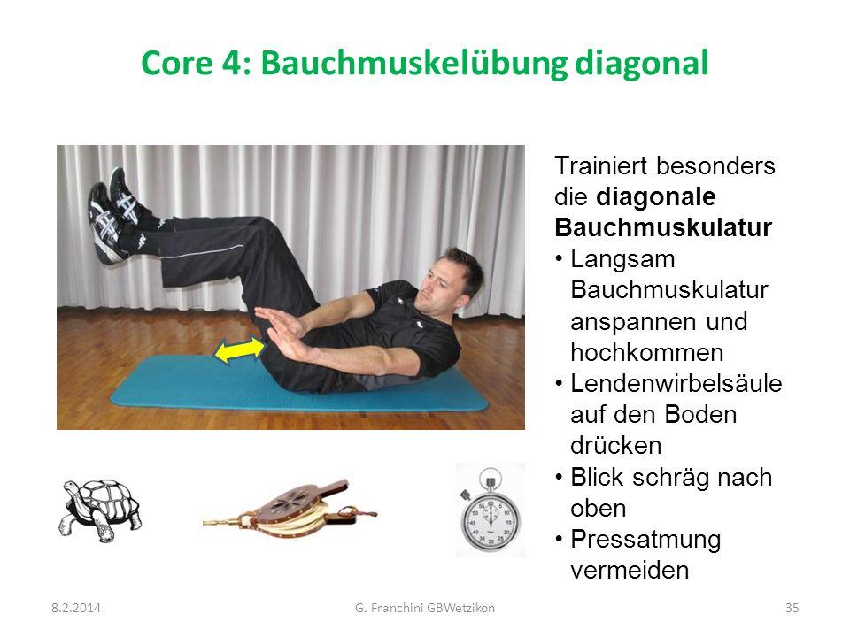 Core 4: Bauchmuskelübung diagonal 8.2.2014G. Franchini GBWetzikon35 Trainiert besonders die diagonale Bauchmuskulatur Langsam Bauchmuskulatur anspanne