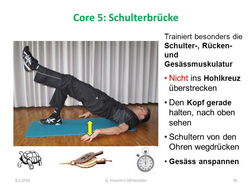 Core 5: Schulterbrücke 8.2.2014G. Franchini GBWetzikon36 Trainiert besonders die Schulter-, Rücken- und Gesässmuskulatur Nicht ins Hohlkreuz überstrec