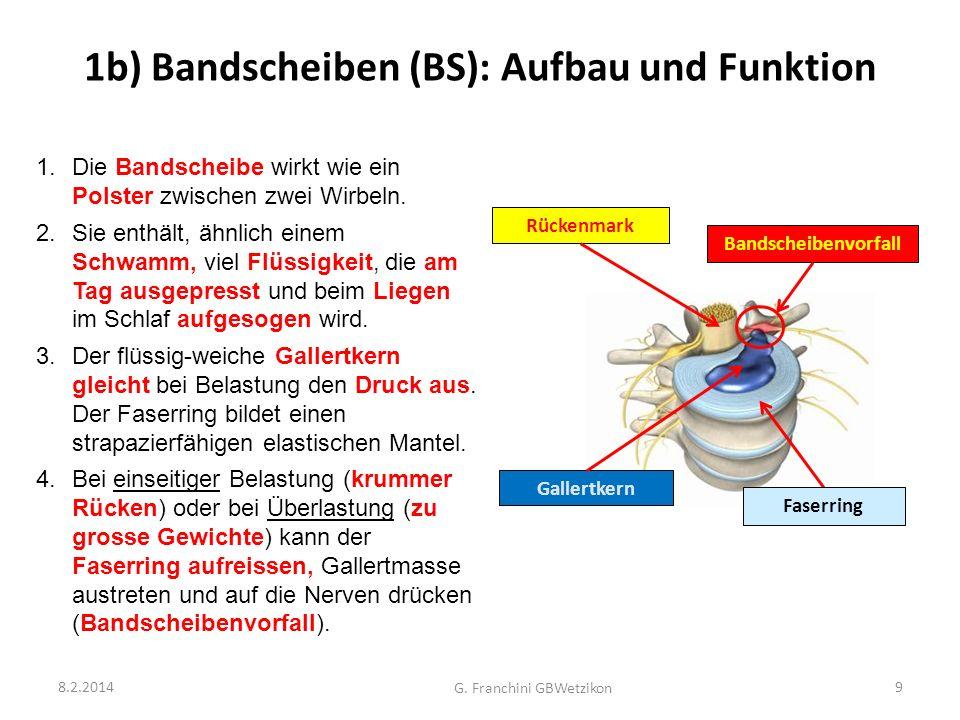1b) Bandscheiben (BS): Aufbau und Funktion 8.2.2014 G. Franchini GBWetzikon 9 1.Die Bandscheibe wirkt wie ein Polster zwischen zwei Wirbeln. 2.Sie ent