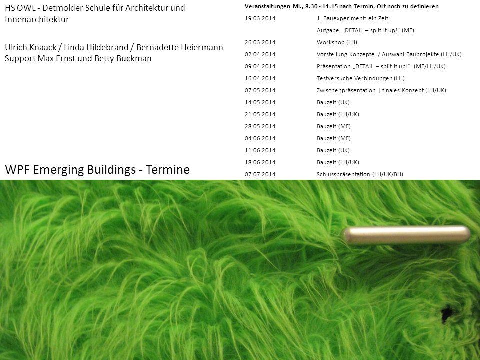 WPF Emerging Buildings - Termine VeranstaltungenMi., 8.30 - 11.15 nach Termin, Ort noch zu definieren 19.03.2014 1. Bauexperiment: ein Zelt Aufgabe DE