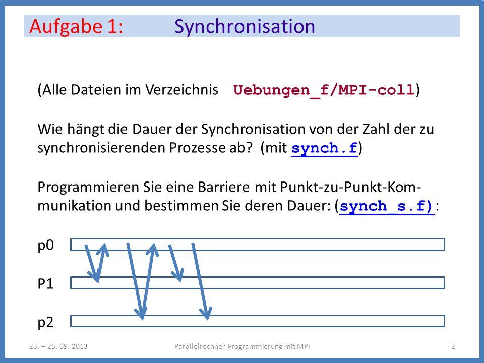 (Alle Dateien im Verzeichnis Uebungen_f/MPI-coll ) Wie hängt die Dauer der Synchronisation von der Zahl der zu synchronisierenden Prozesse ab? (mit sy
