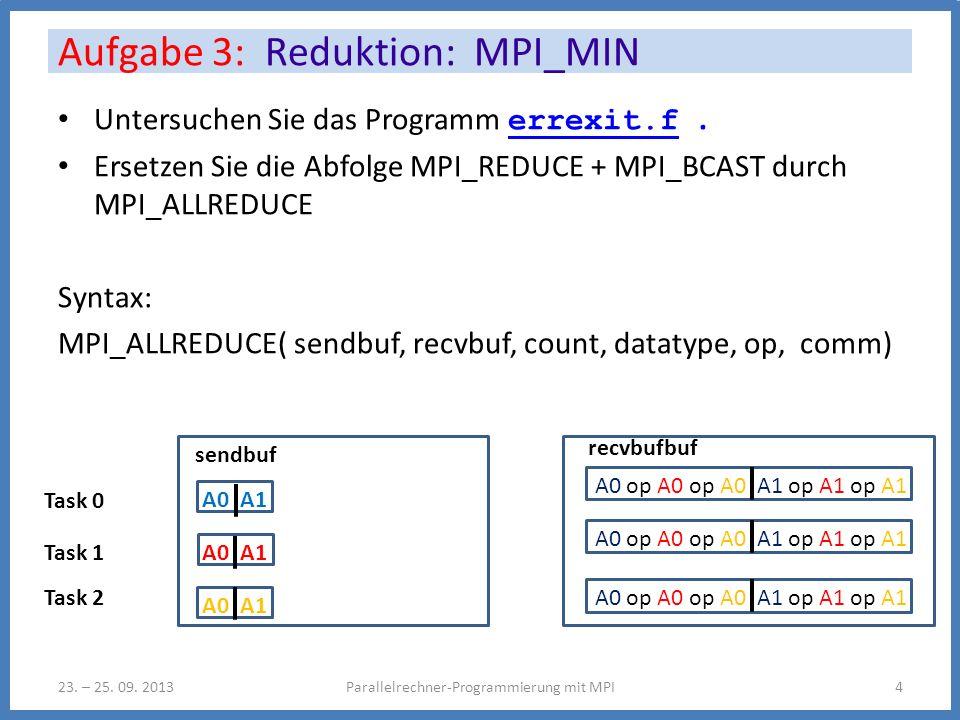 Erstellen Sie ein Programm zur Bestimmung des globalen Minimums eines verteilten Vektors ganzer Zahlen mit Angabe eines Prozesses, auf dem das Minimum angenommen wird Hinweis: Suche das Minimum des Hilfsvektors hv(i) = intv(i)*np + myid Aufgabe 3: Reduktion: MPI_MIN Parallelrechner-Programmierung mit MPI523.