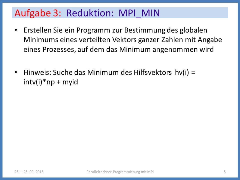Erstellen Sie ein Programm zur Bestimmung des globalen Minimums eines verteilten Vektors ganzer Zahlen mit Angabe eines Prozesses, auf dem das Minimum