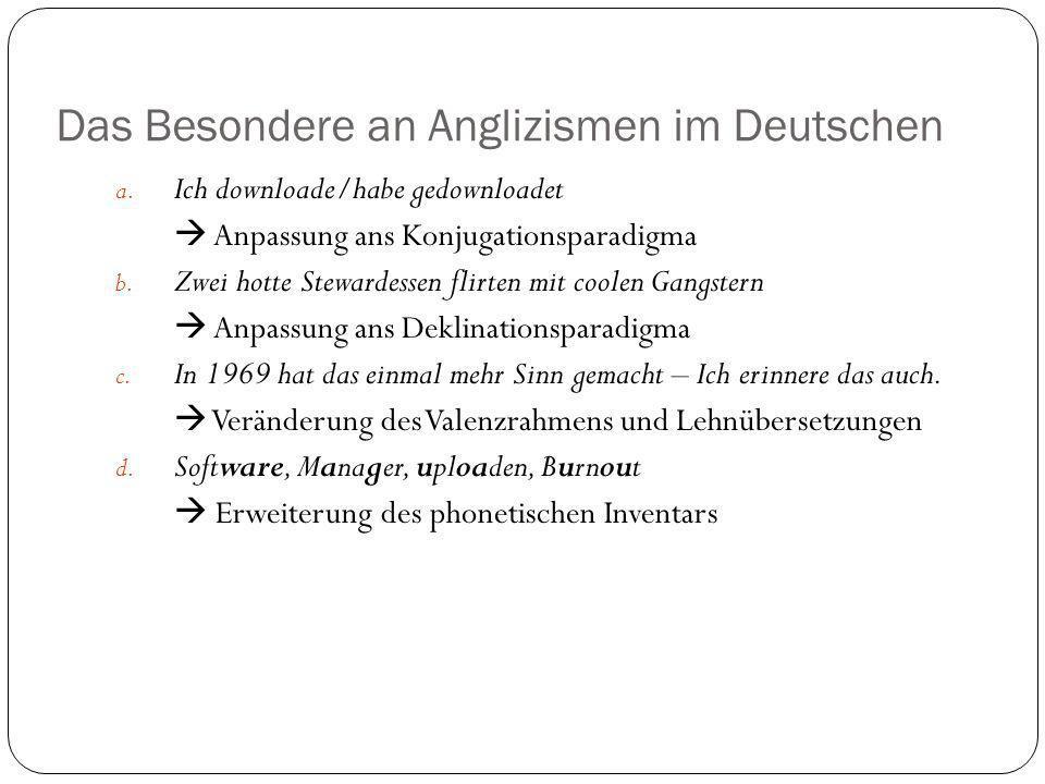 Das Besondere an Anglizismen im Deutschen a. Ich downloade/habe gedownloadet Anpassung ans Konjugationsparadigma b. Zwei hotte Stewardessen flirten mi