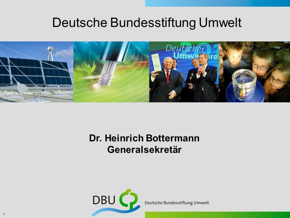 1 Dr. Heinrich Bottermann Generalsekretär Deutsche Bundesstiftung Umwelt