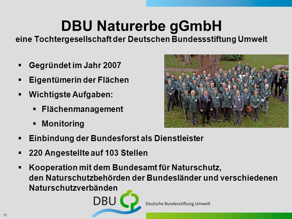 13 DBU Naturerbe gGmbH eine Tochtergesellschaft der Deutschen Bundessstiftung Umwelt Gegründet im Jahr 2007 Eigentümerin der Flächen Wichtigste Aufgab