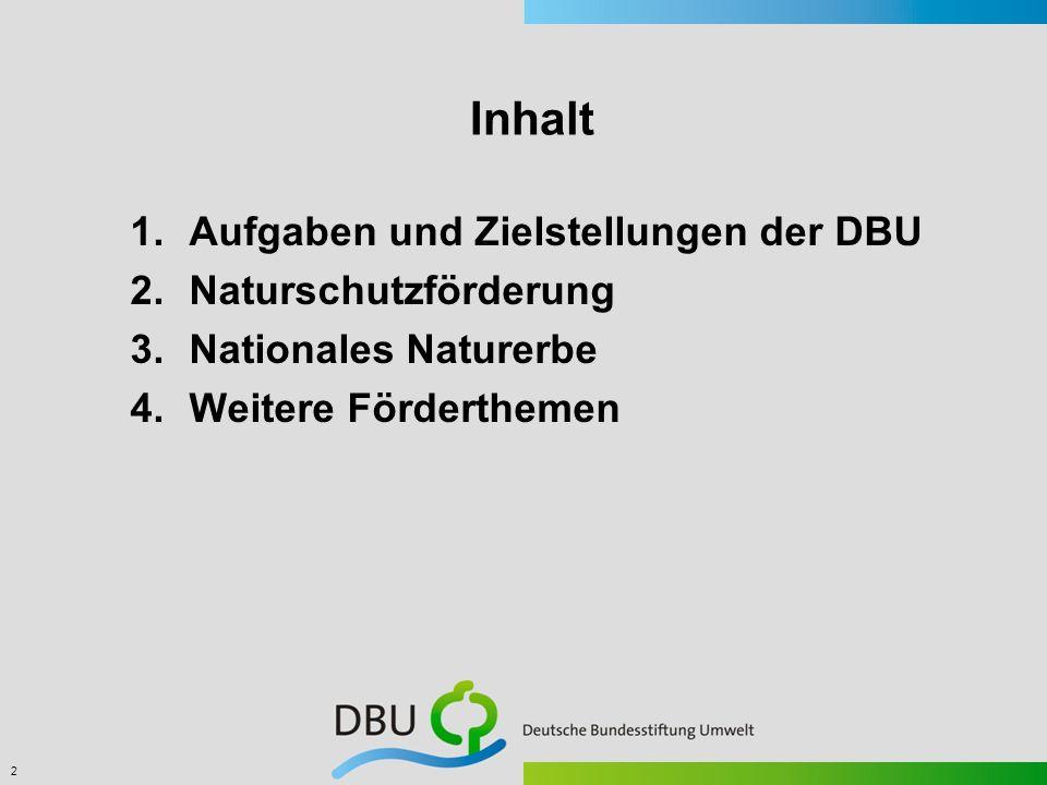 2 Inhalt 1.Aufgaben und Zielstellungen der DBU 2.Naturschutzförderung 3.Nationales Naturerbe 4.Weitere Förderthemen