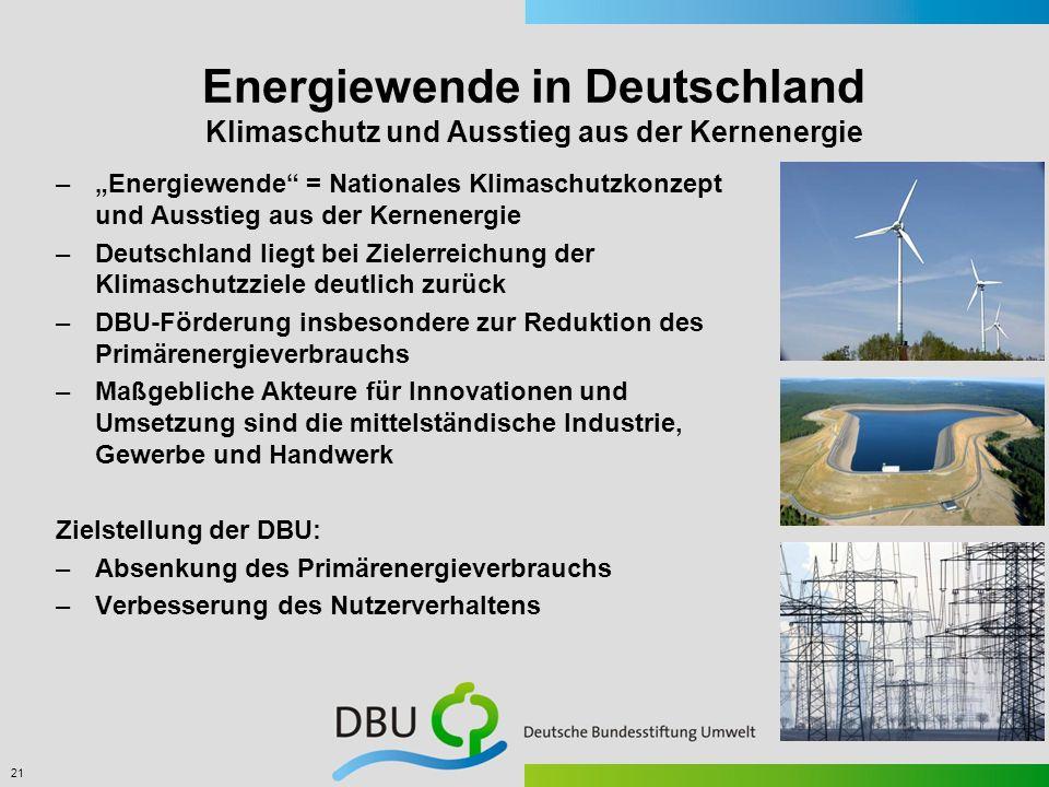 21 Energiewende in Deutschland Klimaschutz und Ausstieg aus der Kernenergie –Energiewende = Nationales Klimaschutzkonzept und Ausstieg aus der Kernene
