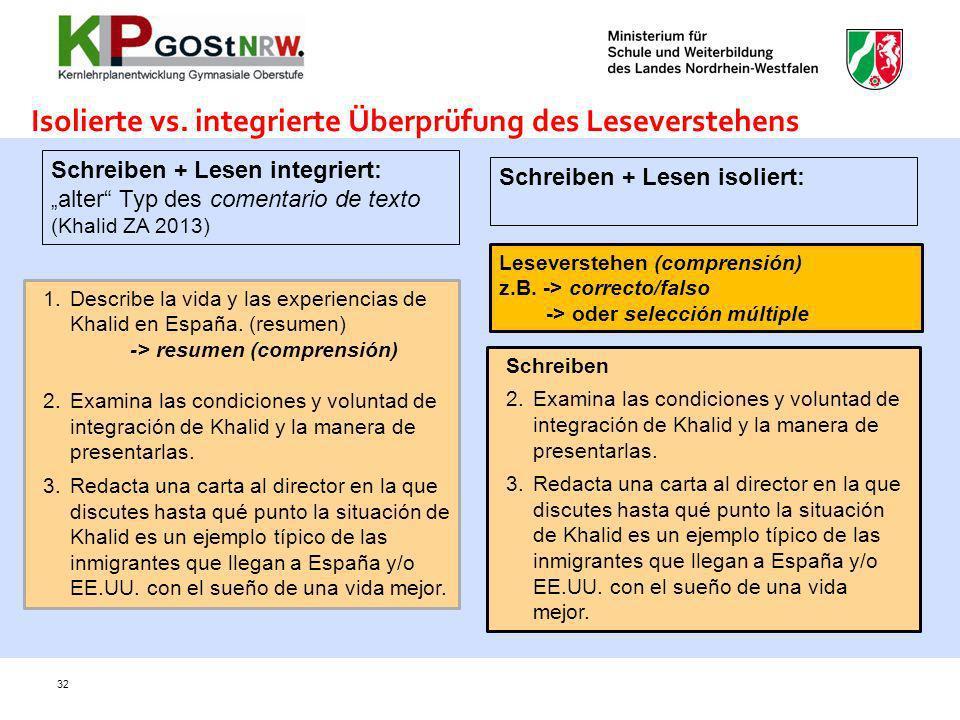 32 Isolierte vs. integrierte Überprüfung des Leseverstehens Schreiben + Lesen integriert: alter Typ des comentario de texto (Khalid ZA 2013) Schreiben