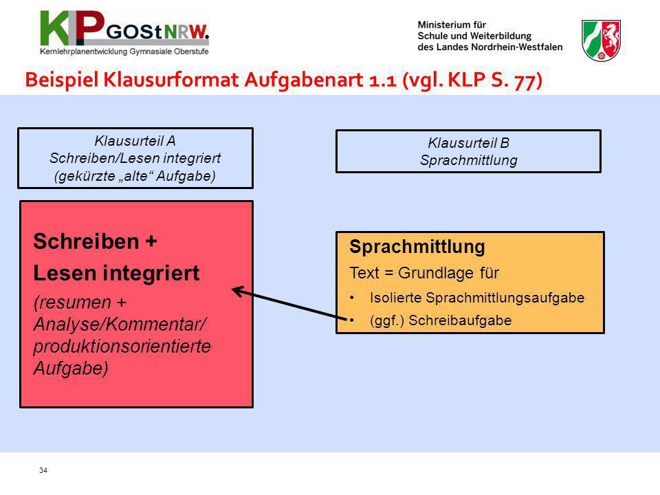 34 Beispiel Klausurformat Aufgabenart 1.1 (vgl. KLP S. 77) Schreiben + Lesen integriert (resumen + Analyse/Kommentar/ produktionsorientierte Aufgabe)