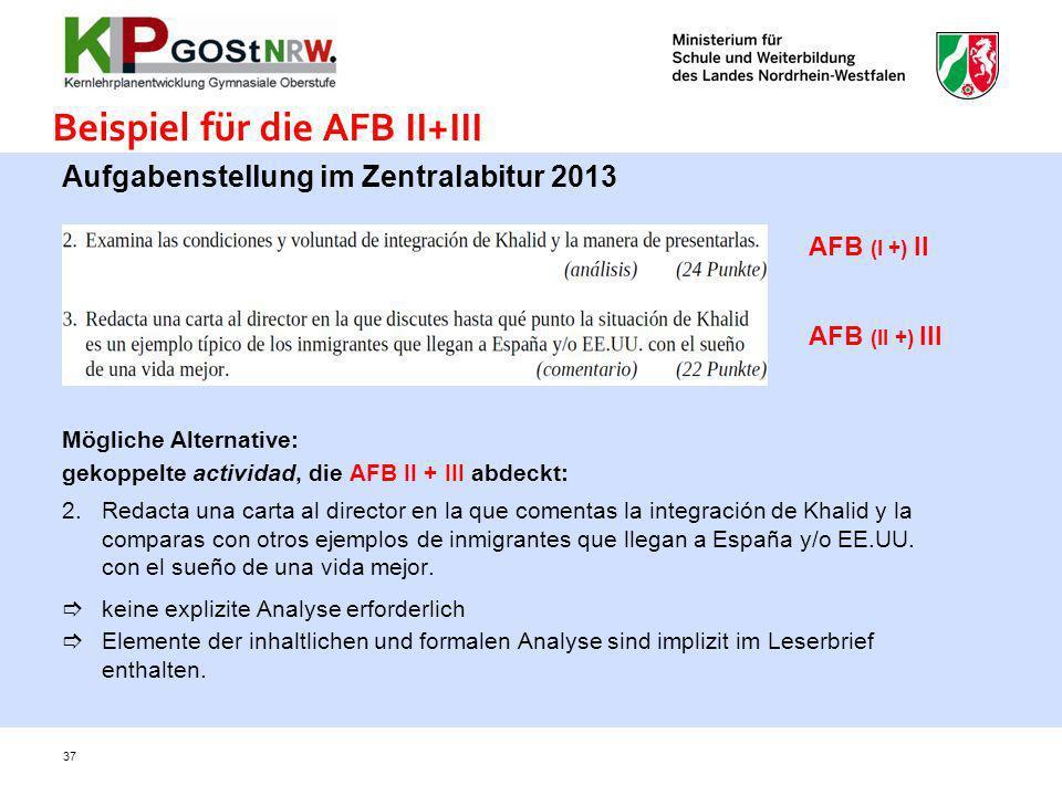 Aufgabenstellung im Zentralabitur 2013 Mögliche Alternative: gekoppelte actividad, die AFB II + III abdeckt: 2.Redacta una carta al director en la que