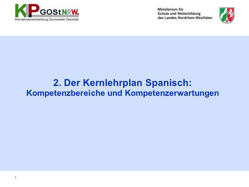 7 2. Der Kernlehrplan Spanisch: Kompetenzbereiche und Kompetenzerwartungen