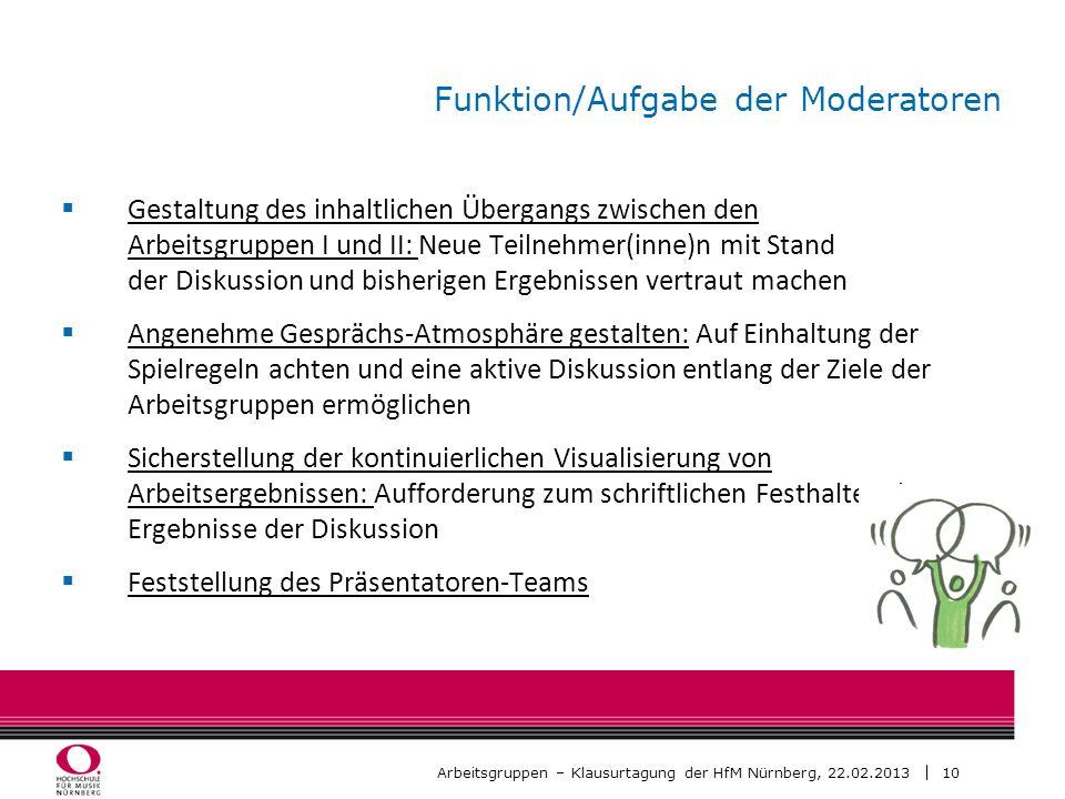 10 Arbeitsgruppen – Klausurtagung der HfM Nürnberg, 22.02.2013 Funktion/Aufgabe der Moderatoren Gestaltung des inhaltlichen Übergangs zwischen den Arb