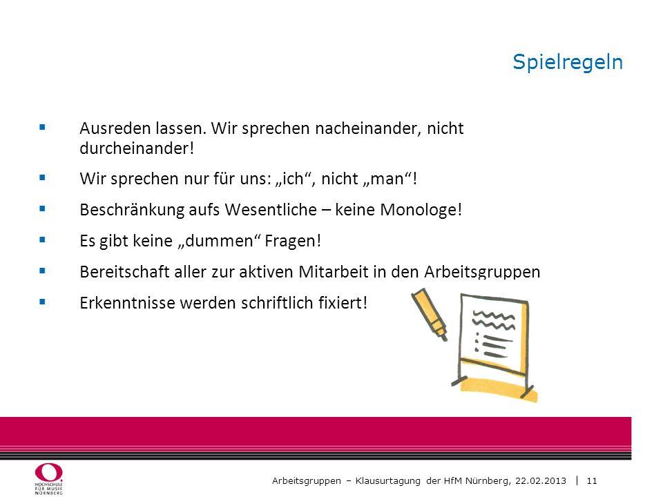 11 Arbeitsgruppen – Klausurtagung der HfM Nürnberg, 22.02.2013 Spielregeln Ausreden lassen. Wir sprechen nacheinander, nicht durcheinander! Wir sprech