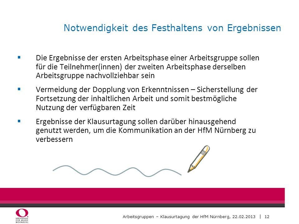 12 Arbeitsgruppen – Klausurtagung der HfM Nürnberg, 22.02.2013 Notwendigkeit des Festhaltens von Ergebnissen Die Ergebnisse der ersten Arbeitsphase ei