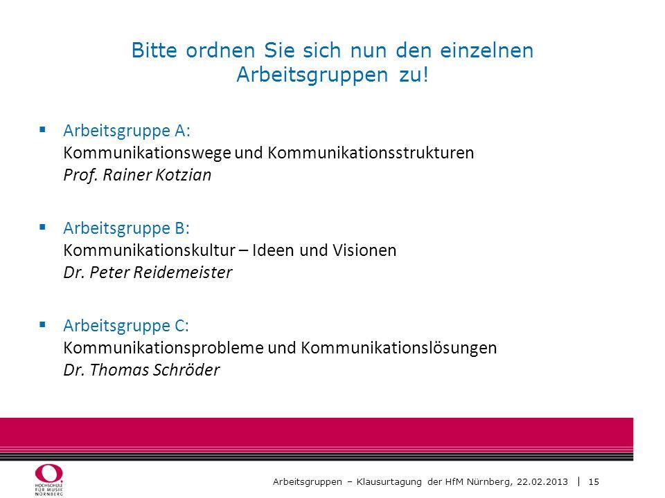 15 Arbeitsgruppen – Klausurtagung der HfM Nürnberg, 22.02.2013 Bitte ordnen Sie sich nun den einzelnen Arbeitsgruppen zu! Arbeitsgruppe A: Kommunikati