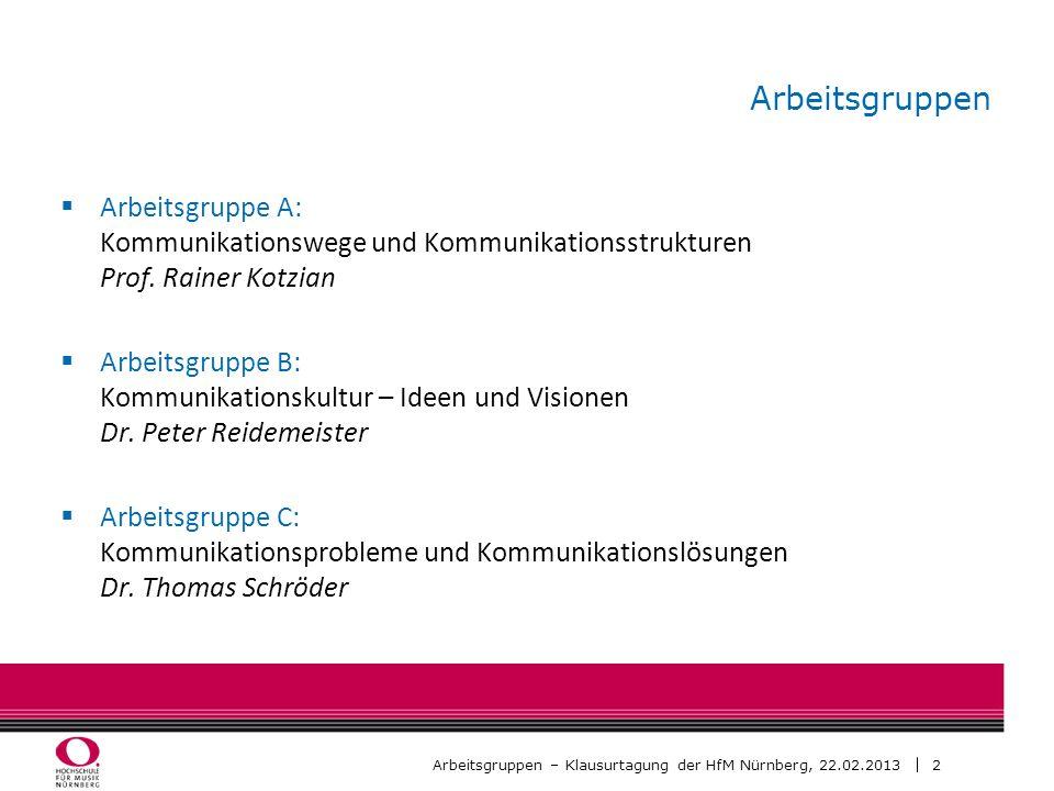 2 Arbeitsgruppen – Klausurtagung der HfM Nürnberg, 22.02.2013 Arbeitsgruppen Arbeitsgruppe A: Kommunikationswege und Kommunikationsstrukturen Prof. Ra