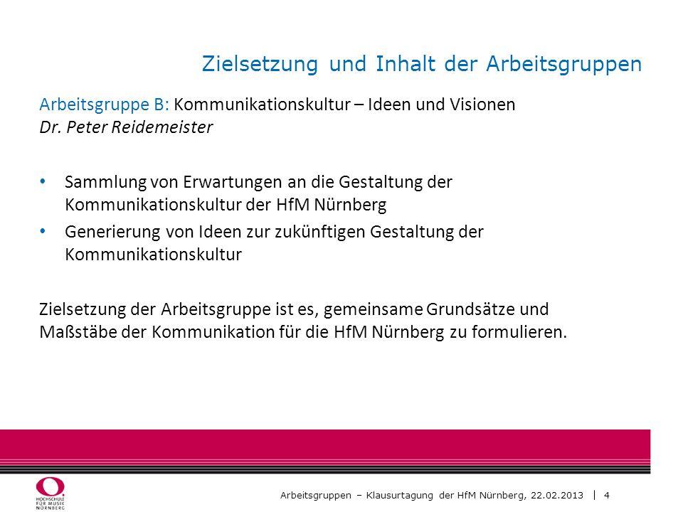 5 Arbeitsgruppen – Klausurtagung der HfM Nürnberg, 22.02.2013 Zielsetzung und Inhalt der Arbeitsgruppen Arbeitsgruppe C: Kommunikationsprobleme und -lösungen Dr.
