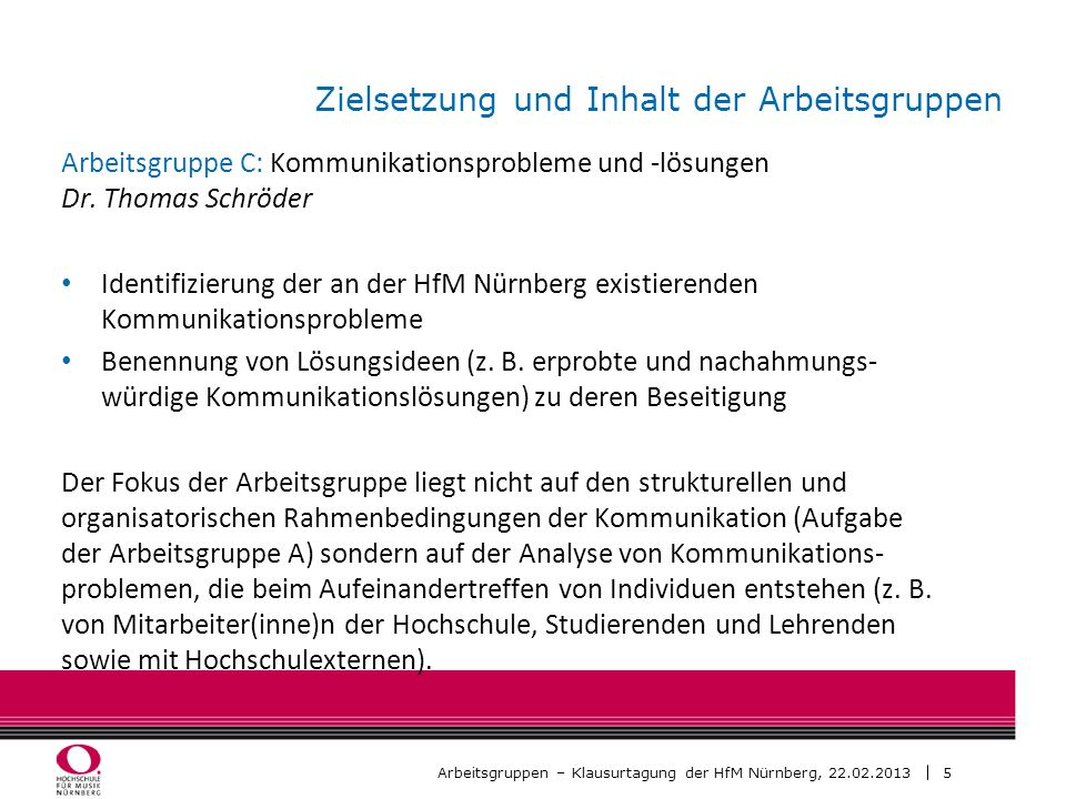 5 Arbeitsgruppen – Klausurtagung der HfM Nürnberg, 22.02.2013 Zielsetzung und Inhalt der Arbeitsgruppen Arbeitsgruppe C: Kommunikationsprobleme und -l