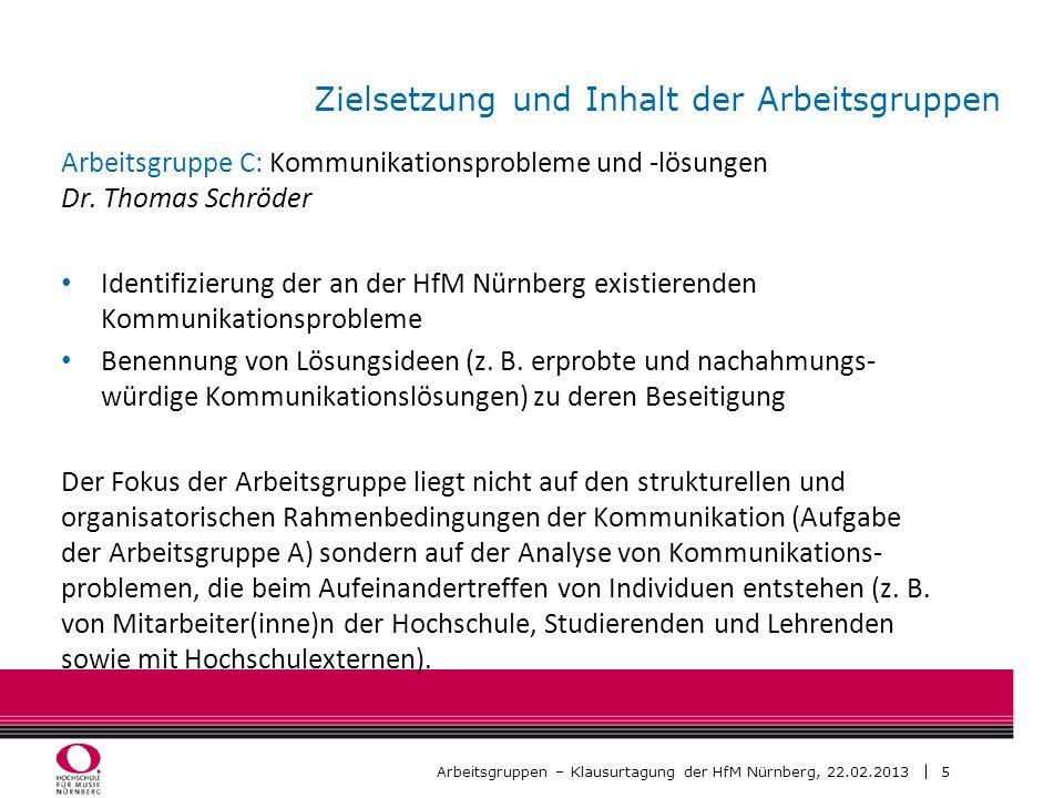 6 Arbeitsgruppen – Klausurtagung der HfM Nürnberg, 22.02.2013 Aufteilung der TN nach Arbeitsgruppen AG 1 AG 2 AG 3 Arbeitsphase I (11.15-12.15 Uhr) Arbeitsphase I I (13.25-14.25 Uhr) AG 1 AG 2 AG 3
