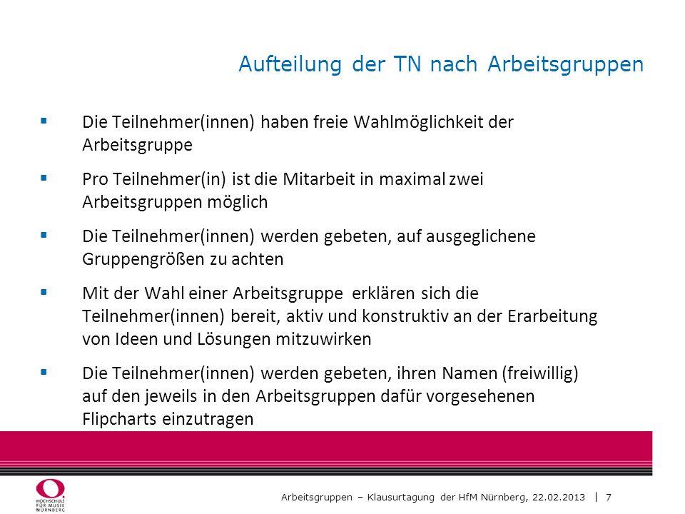7 Arbeitsgruppen – Klausurtagung der HfM Nürnberg, 22.02.2013 Aufteilung der TN nach Arbeitsgruppen Die Teilnehmer(innen) haben freie Wahlmöglichkeit