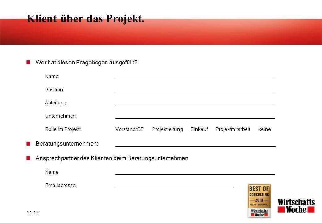 Klient über das Projekt.Wer hat diesen Fragebogen ausgefüllt.