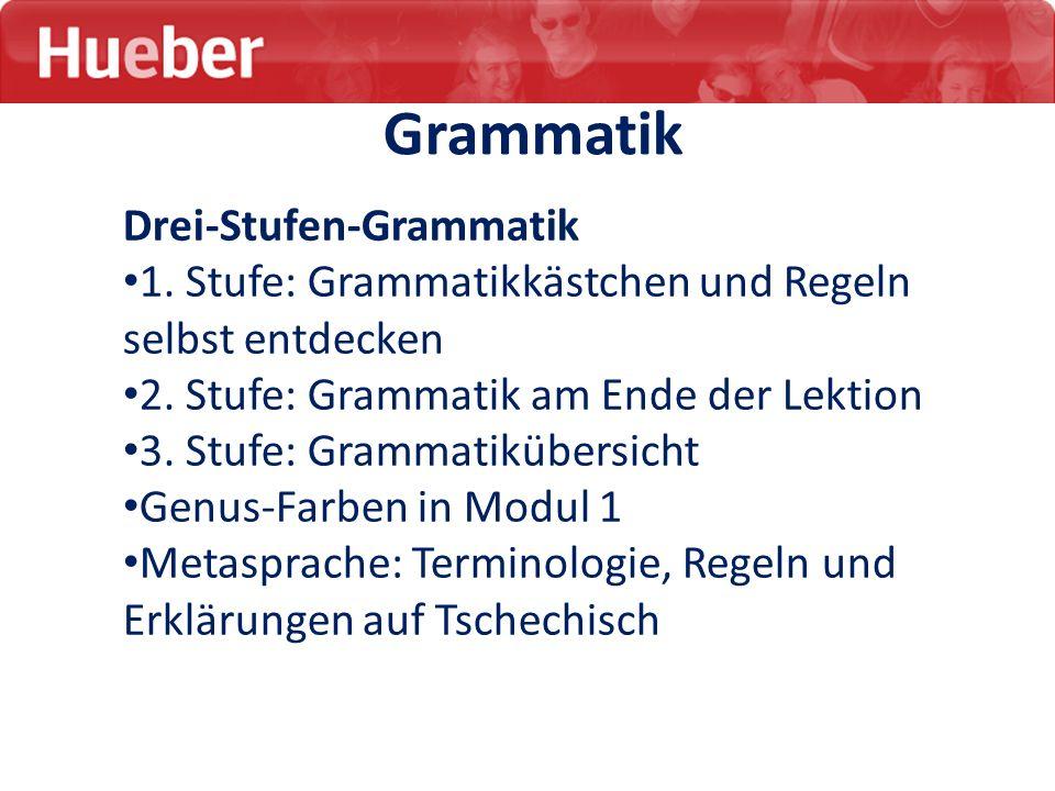 Grammatik Drei-Stufen-Grammatik 1. Stufe: Grammatikkästchen und Regeln selbst entdecken 2. Stufe: Grammatik am Ende der Lektion 3. Stufe: Grammatikübe