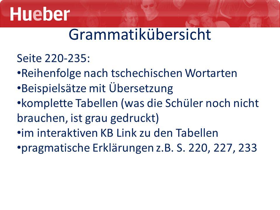 Grammatikübersicht Seite 220-235: Reihenfolge nach tschechischen Wortarten Beispielsätze mit Übersetzung komplette Tabellen (was die Schüler noch nich