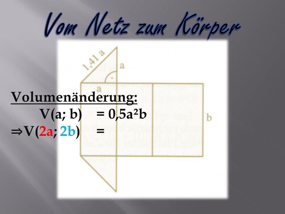 Volumenänderung: V(a; b)= 0,5a²b V(2a; 2b)=