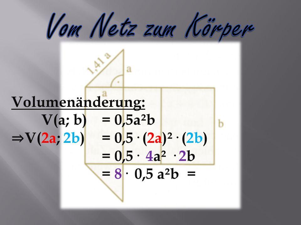 Volumenänderung: V(a; b)= 0,5a²b V(2a; 2b)= 0,5· (2a)²· (2b) = 0,5· 4a² · 2b = 8· 0,5 a²b =