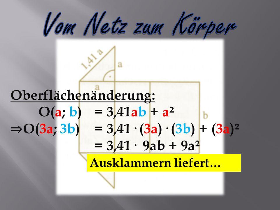 Oberflächenänderung: O(a; b)= 3,41ab + a² O(3a; 3b)= 3,41· (3a)· (3b) + (3a)² = 3,41· 9ab + 9a² = 9· (3,41ab + a²) = Ausklammern liefert…