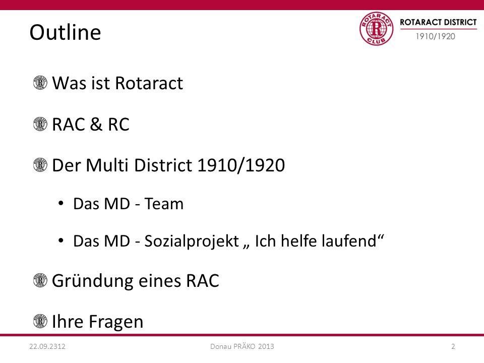 Outline 22.09.2312Donau PRÄKO 20132 Was ist Rotaract RAC & RC Der Multi District 1910/1920 Das MD - Team Das MD - Sozialprojekt Ich helfe laufend Gründung eines RAC Ihre Fragen