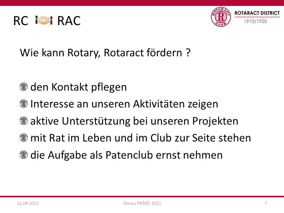 RC RAC 22.09.2013Donau PRÄKO 20137 Wie kann Rotary, Rotaract fördern .